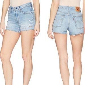 Levi's 501 Raw Hem Floral Cut Out Shorts Size 25